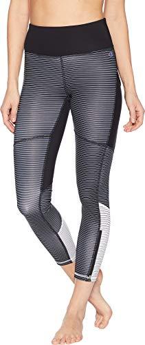 (Champion Women's Fashion Tights 7/8 Novelty Blocking Black/White Stripe Large 25)