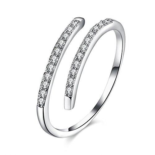 NICOSHINE 925 Sterling Silver Zirconia Anniversary Bridal Wedding Band Engagement Ring