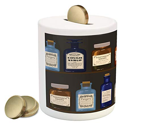 "Lunarable Apothecary Piggy Bank, Antique Pharmaceutical Shelves of Colorful Medicine Bottles Drawing, Ceramic Coin Bank Money Box for Cash Saving, 3.6"" X 3.2"", Dark Taupe Multicolor"