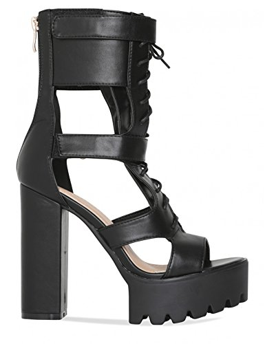 LAMODA Womens Lace up Platform Heels with Cut Out Detail in PU Black fMPcxra0m