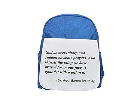 ... sobre algunas oraciones, y ejes la cosa que han rogó para en nuestra cara, un, con un regalo en it. impreso Kid s azul mochila, para mochilas, ...
