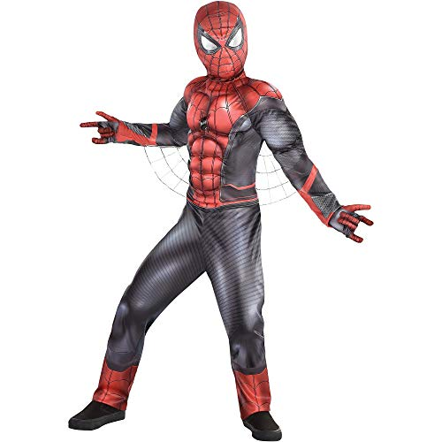 Party City Spider-Man: Far From Home Spider-Man Muscle Costume for Children, Size Medium, Includes a Mask and -