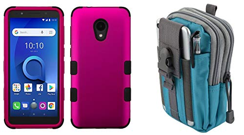 Case Magenta Shield Protector (Bemz Accessory Bundle Designed for Alcatel TCL LX - TUFF Hybrid (Military Grade Certified) Case (Magenta Hot Pink) with Tactical Utility Pack (Blue/Gray) and Atom Cloth for Alcatel TCL LX)