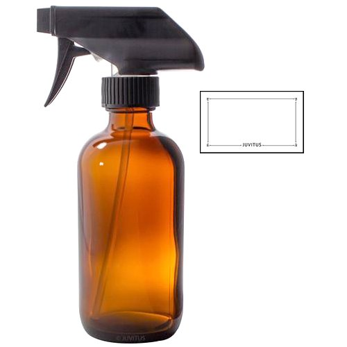 - 8 oz Amber Boston Round Thick Glass Trigger Spray Bottle + Label - Perfect for Home, Cleaning, Cooking, Essential Oils, DIY, Gifts