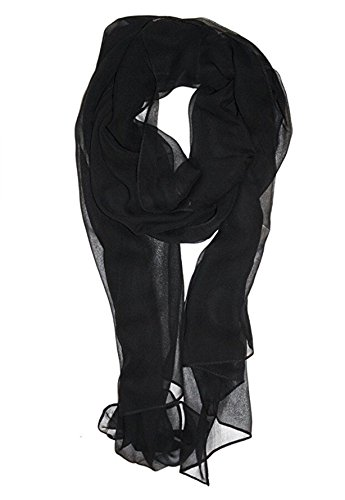 Tanu Collections Silk Blend Oblong Chiffon Scarf in Solid Colors (Black) (Silk Chiffon Scarf)