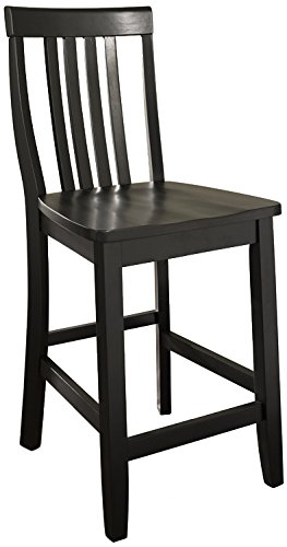 Crosley Furniture CF500324-BK Schoolhouse Bar Stool (Set of 2), 24-inch, Black ()