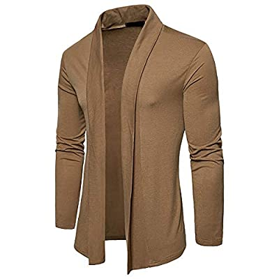 BODOAO Men Casual Cardigan Long-Sleeved Plain Collar Cape Knitted Sweater Jacket