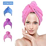 Bleaching Hair Quick Blue - Hair Towel Wrap Turban 3 Pack YesTree Microfiber Quick Dry Hair Turban Wrap - Super Absorbent, Quick Magic Dryer, Dry Hair Hat, Wrapped Bath Cap (Blue+Purple+Rose Red) (Blue,Purple,Rose Red)