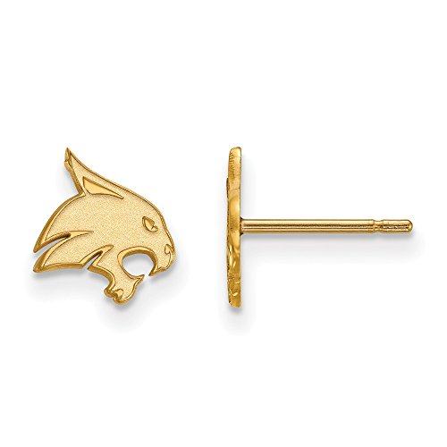 10k Yellow Gold LogoArt Official Licensed Collegiate Texas State University (TSU) XS Post Earrings by LogoArt