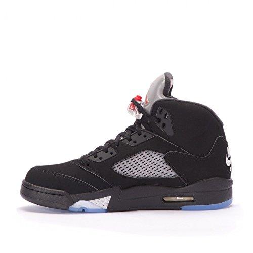 Nike Air Jordan 5 Retro OG Mens Hi Top Basketball Trainers 845035 Sneakers Shoes (7.5 US, black metallic silver white 003)