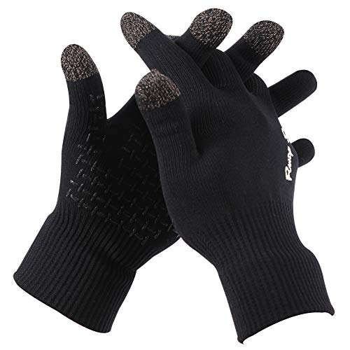 RANDY SUN Waterproof Glove, Hiking Camping Warm Skiing Snowboarding Snowmobile Running Gloves-Black, Large