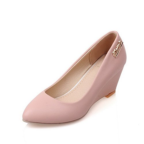 AllhqFashion Damen Spitz Zehe Mittler Absatz Blend-Materialien Rein Pumps Schuhe Pink