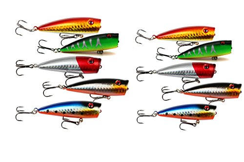 (yueton Lot of 10pcs Fishing Topwater Floating Popper Poper Lure 6.5cm 2.6