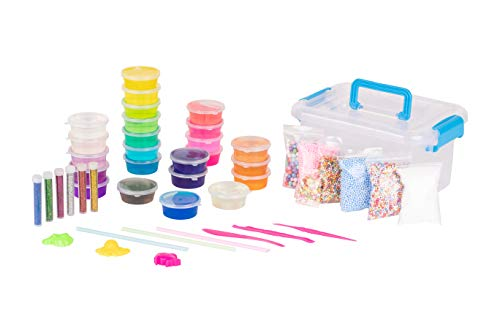 24 Colours Crystal Slime (Blue) carry/storage box, 6 bags foam beads, 6 glitter tubes, crafting tools, the ultimate DIY slime kit for girls and boys