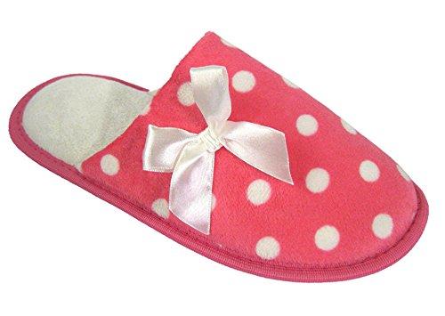 Coolers Womens Ribbon and Polka Dot Fleece Mule Slippers Pink wLuLaPvSZT
