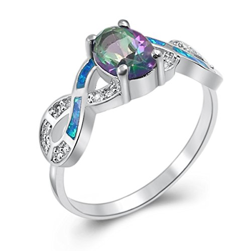 Silver Plated Mystic Topaz Fire Opal Ring Size 7 (7, Myst...