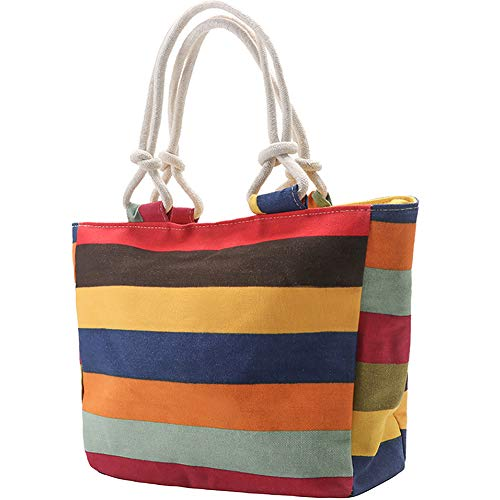 Peicees Canvas Striped Travel Beach Shoulder Tote Bag for Women with Zipper Top, Comfortable Cotton Rope Handles and 2 Zipper Pockets(Multicolour)