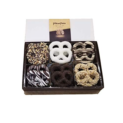 Pretzel Plate Gourmet Chocolates Perfect for Gift, Fathers Day, Valentine, Mothers Day or Birthday (Neutral, 12 pack)