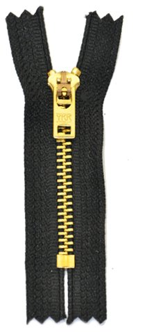 """4"""" - 11"""" Jean Zippers ~ YKK #5 Jeans ~ Brass By Each (Select Length/color) (Length 7 inches, Black)"""