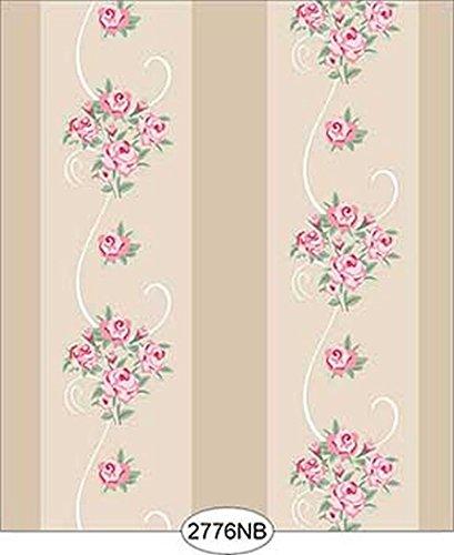 Dollhouse 1:12 Scale Wallpaper - Daniella Floral Stripe - Beige No ()