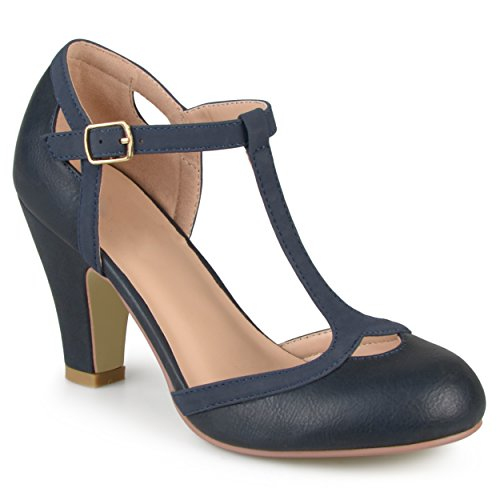 Journee Collection Womens T-Strap Round Toe Mary Jane Pumps Navy, 7 Wide Width US