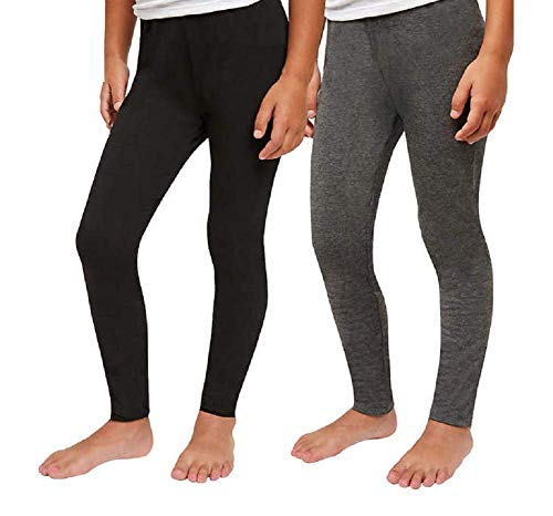 Splendid Girls Tapered Legs Elastic Waistband Solid Legging (2 Pack) (6X, Black - Grey Heather)
