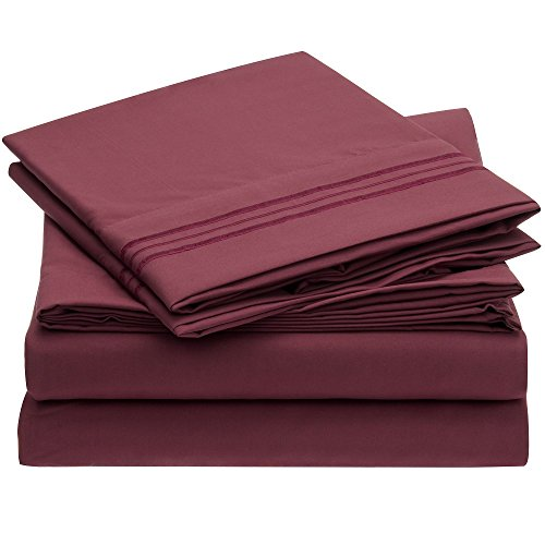 Harmony Linens Bed Sheet Set - 1800 Double Brushed Microfiber Bedding - Deep Pocket, Hypoallergenic - Wrinkle, Fade, Stain Resistant Sheets - 4 Piece (Full, Burgundy) (With Day Double Beds Mattress)