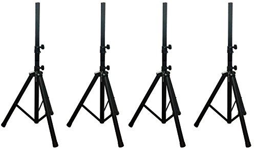 FOUR (4) Alphasonik PRO Universal Adjustable Height DJ PA Speaker Tripod Stands Constructed Heavy Duty Durable Steel Tubing for Strength Security Light Weight for Easy Mobility Safety PIN, Screw Locks