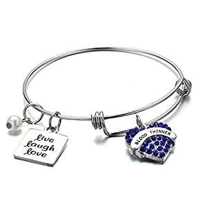 FLODANCER Medical Alert Bracelet,Personalized Bracelet Bangle and Child ID For Women,Silver Stainless Steel Adjustable charm for girls,live love laugh