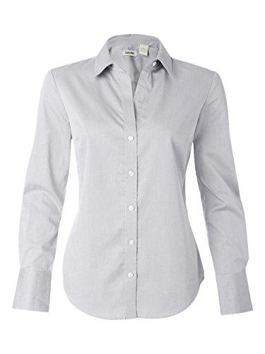 Calvin Klein Ladies' Long Sleeve Micro Herringbone Dress Shirt (Silver) - Long Herringbone Sleeve Dress Shirt