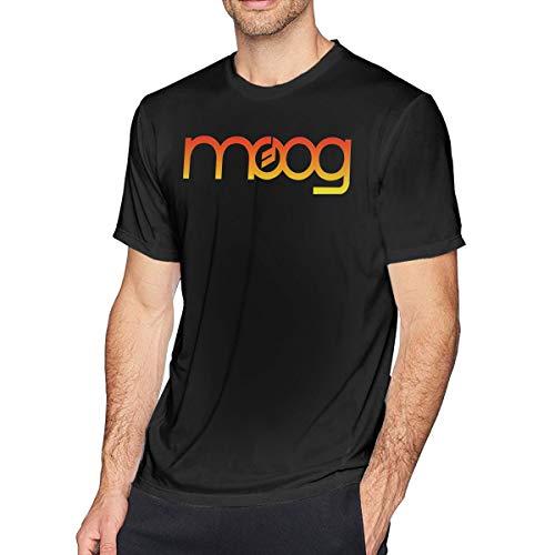 KSJRFI Moog Synth Mens Classic O-Neck Cotton Short Sleeve T-Shirt Black