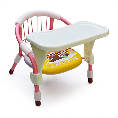 Portable Baby Dining Chair, Foldable Baby Feeding Mat, Multi-Functional Wrought Iron Children Eating Stool, L36.5cm W34cm H35cm, Load Capacity 15kg (Color : Pink) (Rear Tip Split)