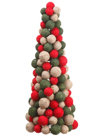 Silk Plants Direct Burlap Ball Cone Topiary (Pack of 2)
