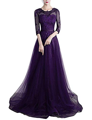 Scoop Neck A Line Prom Dress Long for 8th Grade Sweet 16 Party Prom Dresses Purple,Size 26W