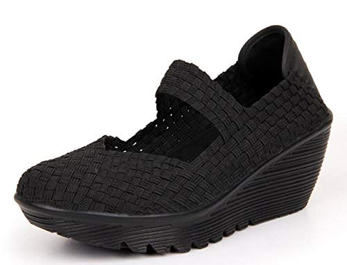 (Womens Wedge Platform Sandal Woven Mary Jane Pumps Round Toe Walking Shoes black Size US10 EU42)