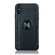 for iphone 6 Case with Ring Holder,QFFUN Soft Silicone + Hard Plastic Hybrid Double Layer Tough Armor Defender Case with 360 Degree Rotating Metal Kickstand,Shockproof Anti-scratch Protective Back Cover and Screen Protector for iphone 6S - Black