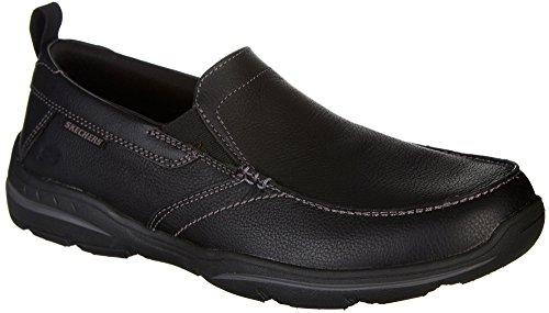Skechers Men's Harper-Forde Driving Style Loafer, Black Leather, 9.5 Wide ()