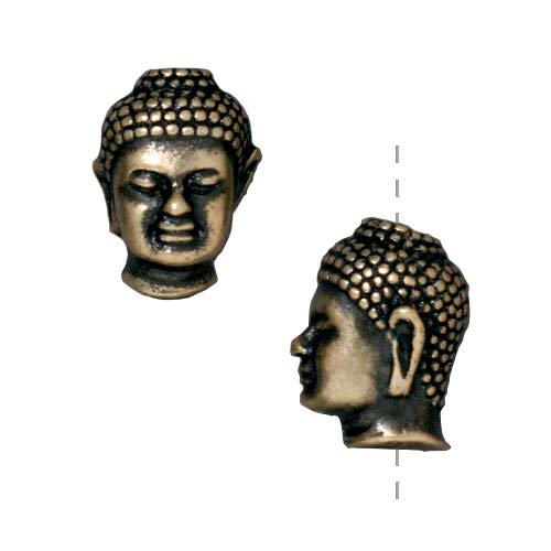 (TierraCast Brass Oxide Finish Pewter Buddha Head Beads 13.5mm (2))