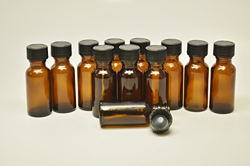 Essential Oil Scent Oil Boston Brown Amber Glass Lab Bottle ½oz 1/2oz 0.5oz 15ml with Clone Cap Stopper pack of 12