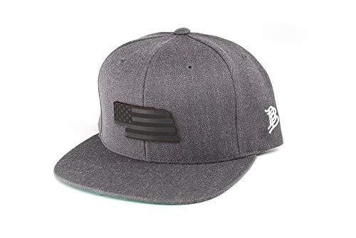 - Branded Bills 'Midnight Nebraska Patriot' Black Leather Patch Snapback Hat - OSFA/Charcoal
