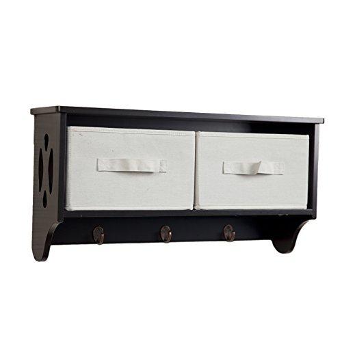 Canvas Storage Bins and Hooks Danya B BQ0213 Rustic Wall Mount Entryway Coat Rack with Organizer Cubby Shelf