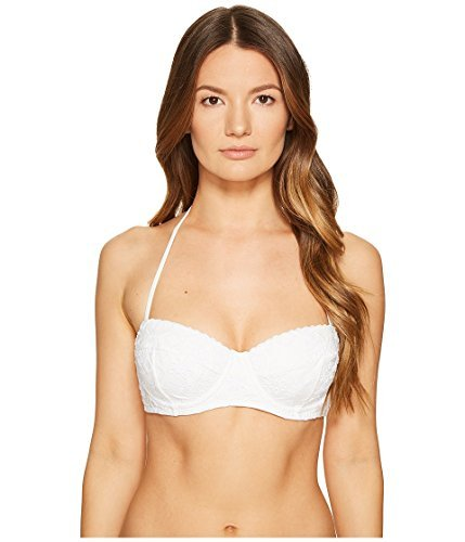 Kate Spade New York Women's Embroidered Underwire Bikini Top, White, Medium