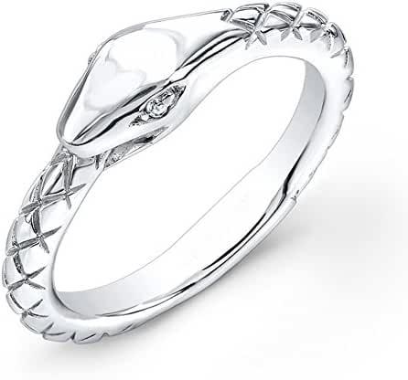 Victoria Kay White Diamond Accented Sterling Silver Snake Ring (J-K, I2-I3)