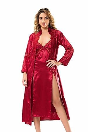 ablam Shop/2 piezas Mujer Pijama Set Silk/satén Dunne Bata & Slashed vestido