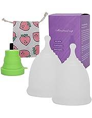 Siliconen Menstruatiecup, 2 Menstruatiecups met 1 Sterilisatiecup, Opvouwbare Sterilisator voor Transparante Menstruatiecup Herbruikbare Flexibele Menstruatiecup