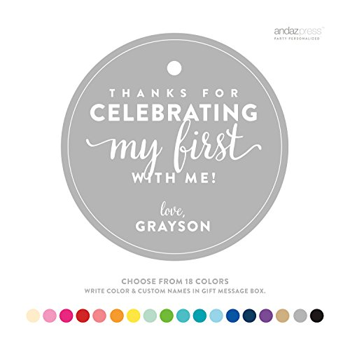Andaz Press Personalized Circle Birthday Gift Tags, 1st Birthday, 24-Pack - CUSTOM MADE ANY NAME, COLOR