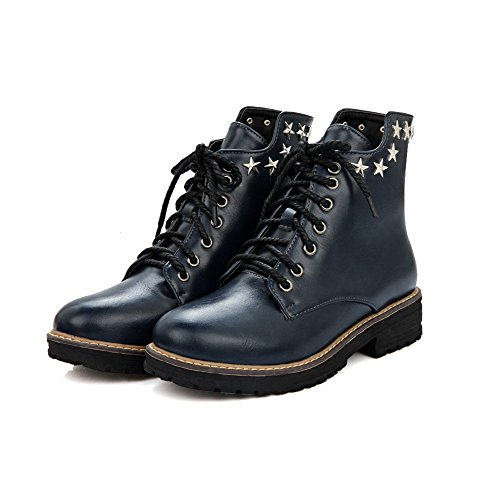 Women's Low-Top Solid Lace-up Round Closed Toe Low-Heels Boots With Rivet