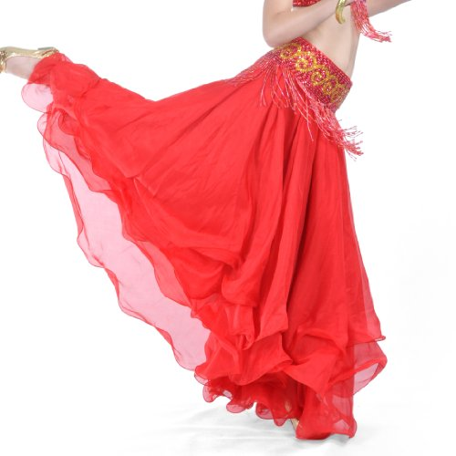 BellyLady Belly Dance Skirt Halloween Tribal Chiffon Tiered Maxi Full Skirt RED (Red Belly Dancing Costume)