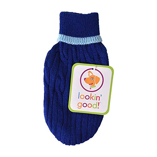 Fashion Pet Cable Knit Dog Sweater - Blue (40 Pack)