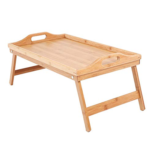 Bamboo Tea Table Wood Desk Breakfast Serving Bed Tray Sofa Coffee Table